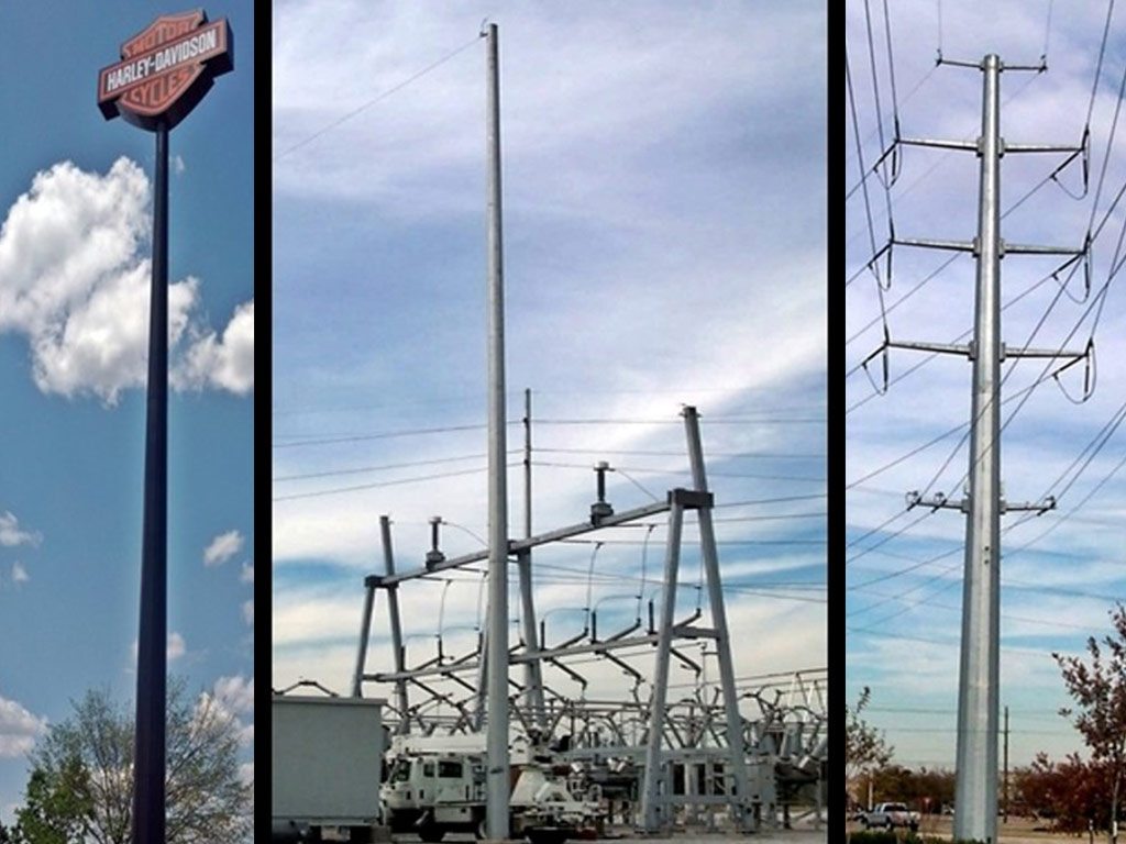 Utility transmission poles and commercial sign poles